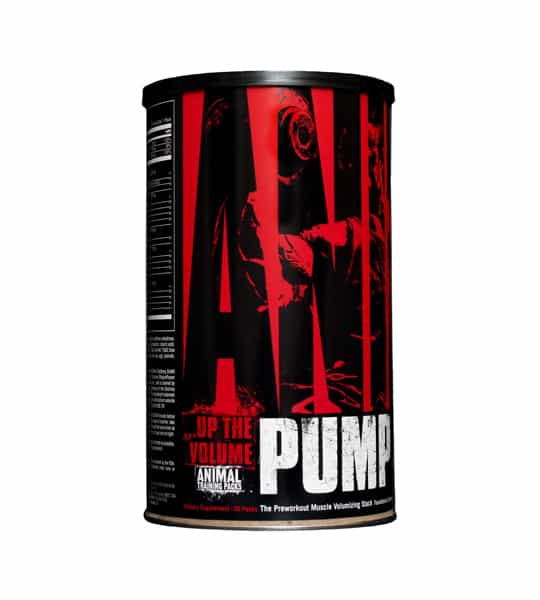 Black and red container of Universal Up The Volume Animal PUMP shown on white background
