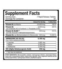 Supplement facts and ingredients panel of Allmax Nutrition Aminocore for serving size of 7 rapid release tablets for 30 servings per container