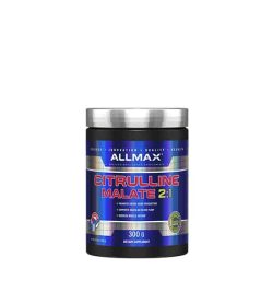 Shiny blue bottle with silver cap of Allmax Citrulline Malate 2:1 cotains 300g of dietary supplement