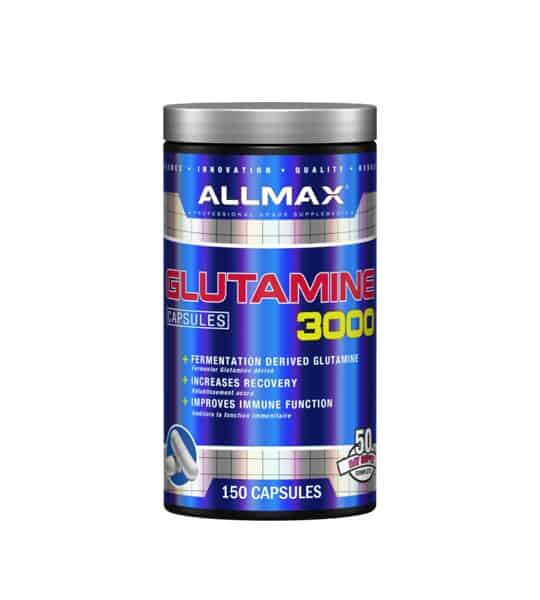 Shiny blue container with silver cap of Allmax Glutamine 3000 capsules contains 150 capsules