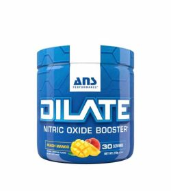 Shiny blue container with blue cap of ANS Performance Dilate Nitric Oxide Booster with Peach Mango flavour containing 30 servings