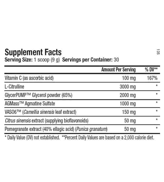 Supplement facts panel of ANS Performance Dialate Pump for serving size of 1 scoop (9 g) with 30 servings per container