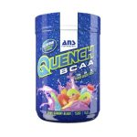 Shiny blue container with blue cap of ANS Performance Quench BCAA with Sour Gummy Blast flavour contains 100 servings