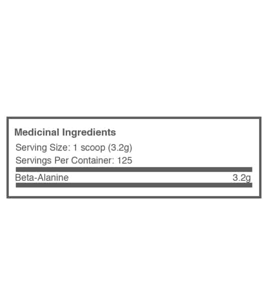 Medicinal ingredients of Ballistic Labs Beta Alanine for serving size of 1 scoop (3.2 g) for 125 servings per container