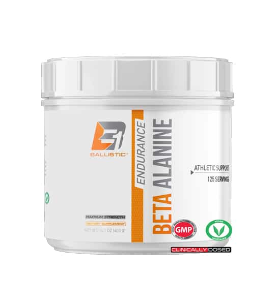 Shiny white container with white lid of Ballistic Endurance Beta Alanine Athletic Support contains 125 servings or 400 g