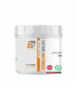 Shiny white container with white lid of Ballistic Nitric Oxide Citrulline Malate Performance support contains 100 servings