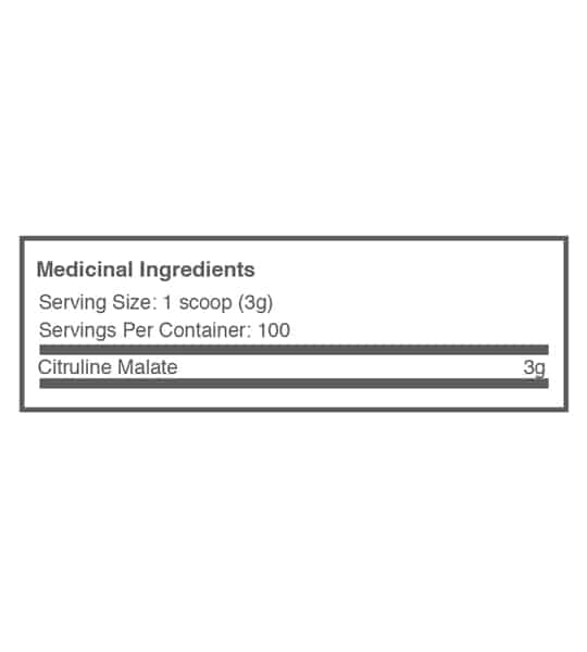 Medicinal ingredients panel of Ballistic Labs Citruline Malate-2-1 for serving size of 1 scoop (3 g) for 100 servings per container