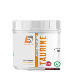 Shiny white container with white lid of Ballistic Intra-Workout Taurine Athletic Support contains 133 servings