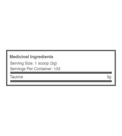 Medicinal ingredients panel of Ballistic Labs Taurine for serving size of 1 scoop (3 g) for 133 servings per container
