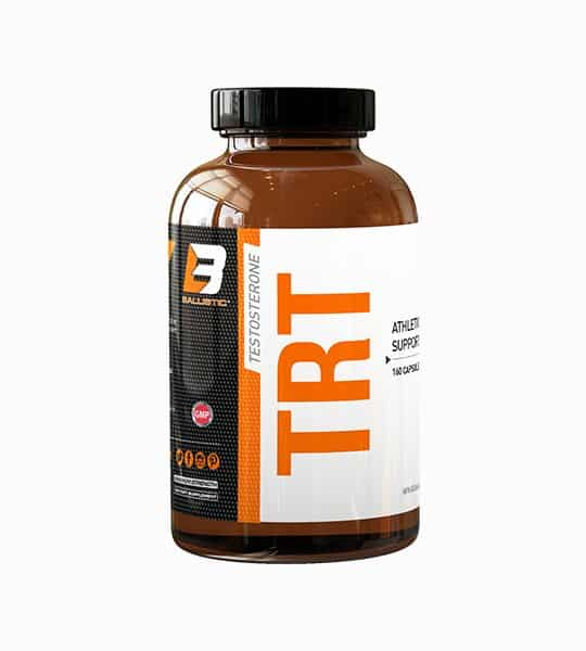 Brown bottle with black cap with white, black, and, orange label of Ballistic Testosterone TRT Athletic Supplement