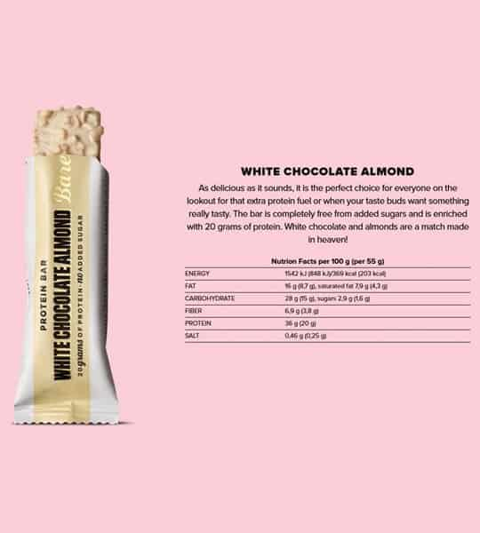 Barebells Protein Bar White Chocolate Almonds shown open with Nutrition facts for serving size 55 g in pink background