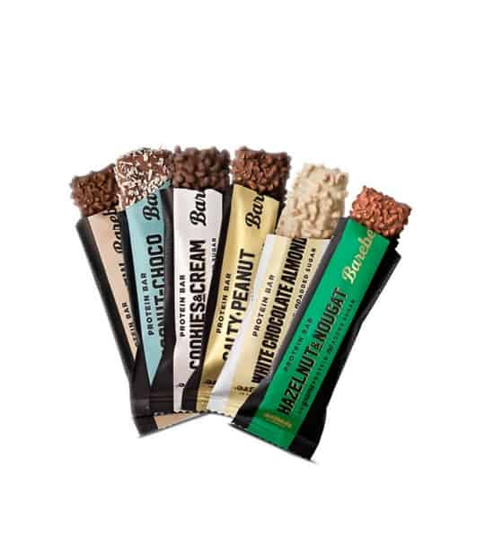 6 Different flavoured Barebell Protein bars shown open in white background