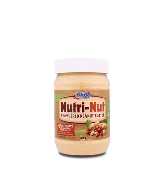 A brown container with white lid of BioX Nutri-Nut Powdered Peanut Butter with 25% less fat