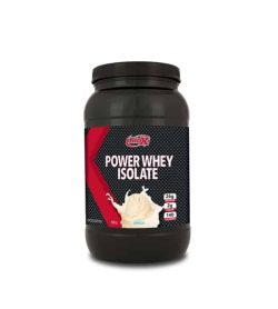 Black container with black lid of BioX Power Whey Isolate with Vanilla flavour with 26 g protein per serving
