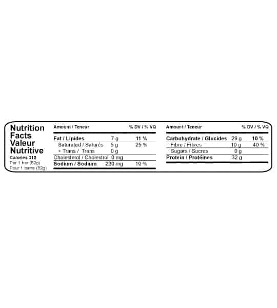 Nutrition facts panel of Bio-X Protein-32 Bar Fudge for serving size of 1 bar (32 g) shown with black text in white background