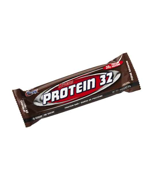 A brown pouch of BioX Protein 32 protein bar with Chocolate flavour contains 32 g of protein