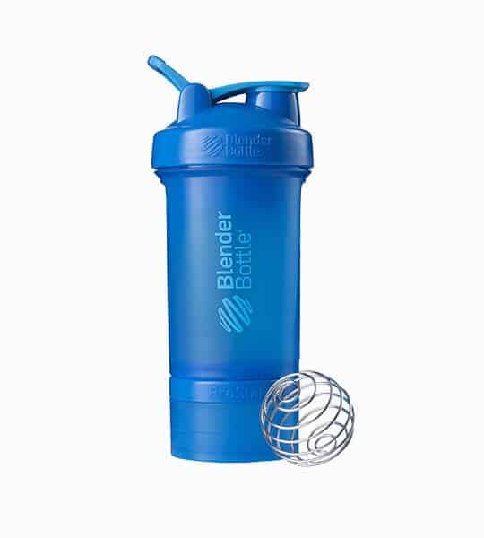 Blue Blender Bottle Sport mixer with blue lid shown with mixer and in white background