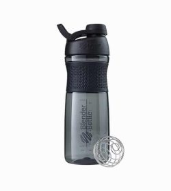 Black Blender Bottle Sport mixer with black lid shown with mixer and in white background