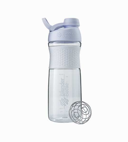 Clear and white Blender Bottle Sport mixer with white lid shown with mixer and in white background