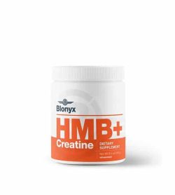 White and orange container with white lid of Blonyx HMB+ Creatine contians 240 g of dietary supplement