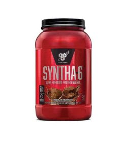 Shiny red container with black lid of BSN Syntha-6 Ultra Premium Protein Matrix with Chocolate Milkshake contains 28 servings