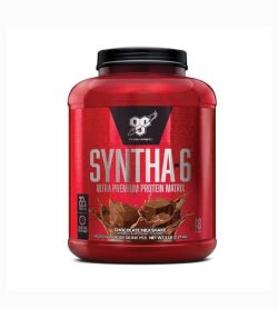 Shiny red container with black lid of BSN Syntha-6 Ultra Premium Protein Matrix with Chocolate Milkshake flavour contains 2.27 kg
