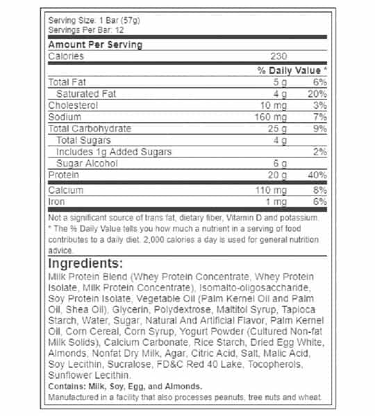 Nutrition facts and ingredients panel of BSN Syntha 6 for serving size of 1 bar (57 g) and 12 servings per bar