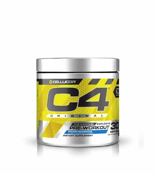 Silver and yellow container with silver cap of Cellucor C4 Original Pre-Workout contains 30 servings of dietary supplement
