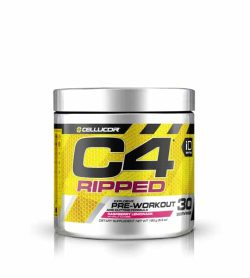 Silver and yellow container with silver cap of Cellucor C4 Ripped Explosive Pre-Workout dietary supplement contains 30 servings