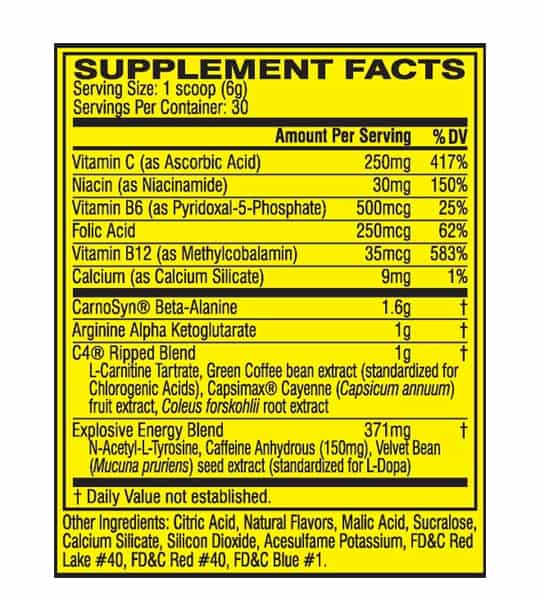 Supplement facts and ingredients panel of Cellucor C4 Ripped for serving size of 1 scoop (6 g) with 30 servings per container