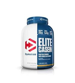 Blue and white container with blue lid of Dymatize Elite Casein Protein Powder with Cinnamon Bun flavour contains 4 lb