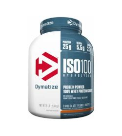 White and blue container with blue lid of Dymatize ISO100 Hydrolysed Protein Powder 100% Whey Protein Isolate with Chocolate Peanut Butter flavour contains 2.3 kg