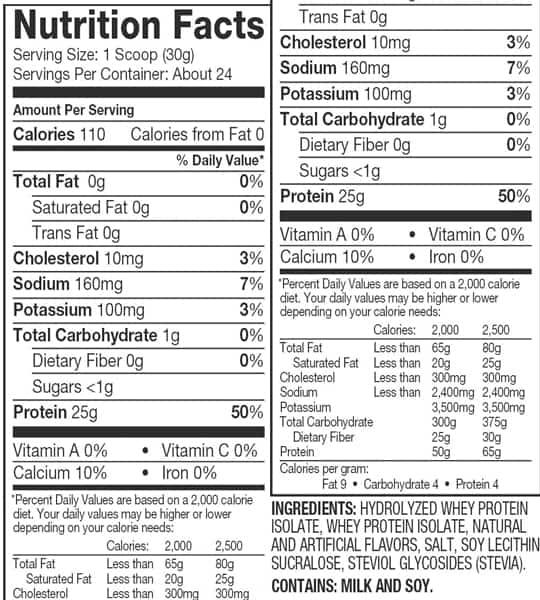Nutrition facts and ingredients panel of Dymatize ISO100 for serving size of 1 scoop (30 g) with about 24 servings per container