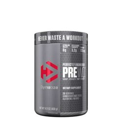 Silver container with silver cap of Dymatize Perfectly Engineered PRE WO contains 400 g 20 servings of dietary supplement
