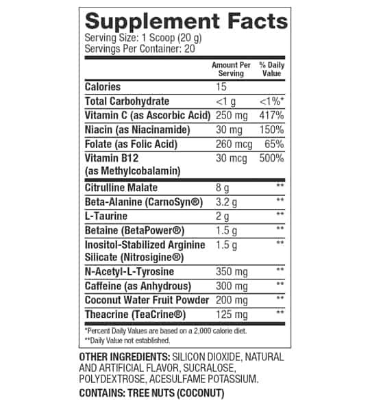 Supplement facts and ingredients panel of Dymatize Pre-Wo preworrkout for serving size 1 scoop (20 g) with 20 servings per container