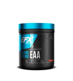 Black and blue container with shiny blue cap of EFX Sports Training Ground EAA Aminozorb with 0 g sugars and 5 g EAA