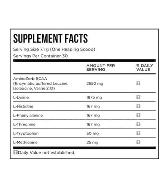 Supplement Facts panel of EFX Training Ground EAA for serving size of 1 heaping scoop (7.1 g) with 50 servings per container
