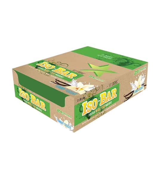 Brown and green box of Fit Stars Iso-Bar Oven fresh Whole Food ingredients with Yummy Yogurt contains 21 g protein