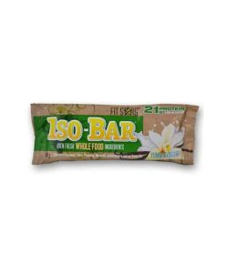 Brown and green pouch of Fit Stars Iso-Bar Oven fresh Whole Food ingredients with Yummy Yogurt contains 21 g protein