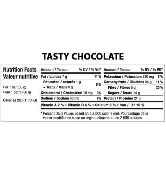 Nutrition facts panel of Fitstars ISO Bars Tasty Chocolate for serving size of 1 bar (80 g)