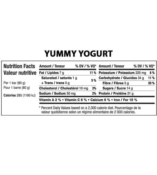 Nutrition facts panel of Fitstars ISO Bars Yummy Yogurt for serving size of 1 bar (80 g)