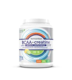 Silver and blue container with white lid of Genuine Health Fermented BCAA+ Creatine contains 440 g