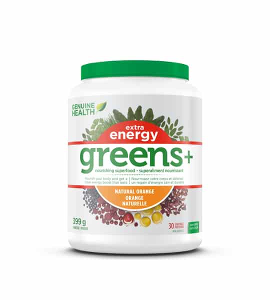 Green and white container with green lid of Genuine Health Extra Energy Greens+ Natural Orange contains 399 g