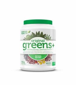 White and green container with green lid of Genuine Health Original Greens+ Natural contains 510 g