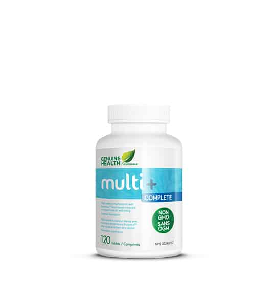 Silver and blue container with white lid of Genuine Health Multi+ Complete contains 120 tablets
