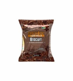 Brown pouch of Grenade Carb Killa Biscuit with Double Chocolate flavour shown in white background