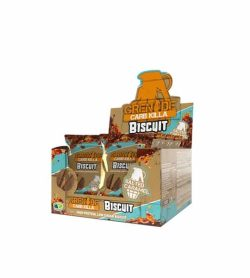 Brown and blue box of Grenade Carb Killa Biscuit pouches with Salted Caramel flavour