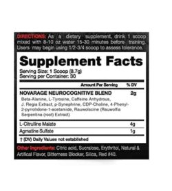 Supplement facts and ingredients panel of Innovapharm Novarage Extreme Pre-workout for serving size 1 scoop (8.7 g)