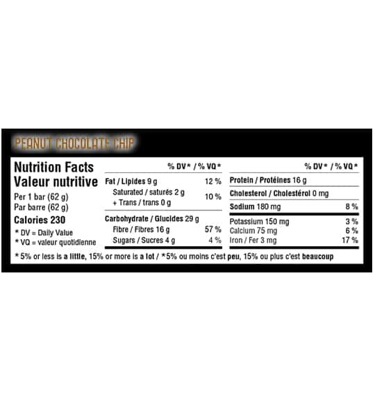 Nutrition facts panel of IronVegan Sprouted Protein Bar Peanut Chocolate Chip for serving size of 1 bar (62 g)