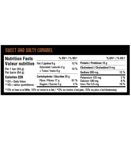 Nutrition facts panel of IronVegan Sprouted Protein Bar Sweet Salty for serving size of 1 bar (64 g)